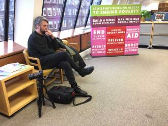 Nick waiting at Oxfam Scotland's offices.