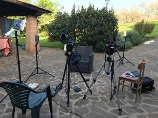 Setting up for another long interview with Lorenzo in the garden.