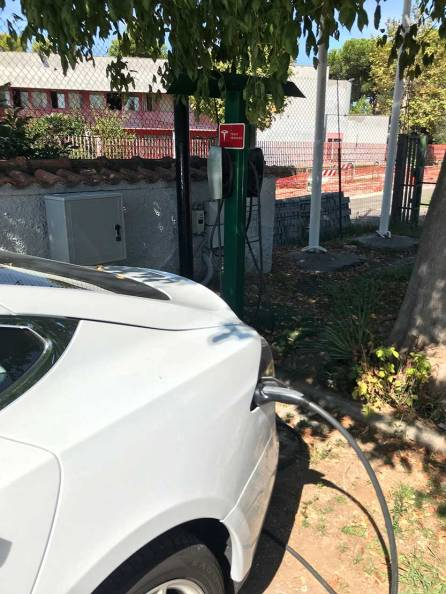 Sometimes hotels have chargers specifically for Teslas — very convenient.