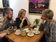 Meeting Katherine and Una before the session with the Scottish government team.