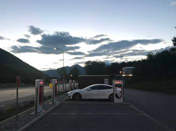 Traveling back, charging stop in the Swiss Alps.