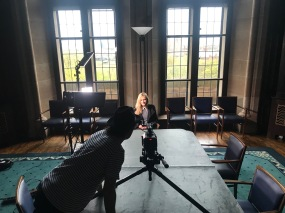 A composed shot of Katherine at the University of Glasgow