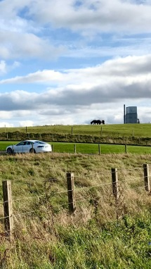 Composition with Tesla, horses and a power station